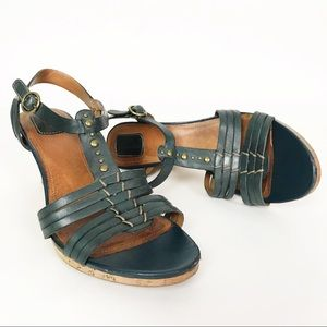 Clarks Green Leather T Strap Cork Wedge Sandals